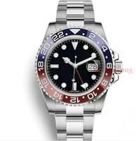 709496c10ad GMT II Luxo New Gent Relógios Automáticos de Aço Inoxidável Dive Azul  Vermelho Círculo De Cerâmica Mestre 40mm Mens Watch AAA Relogio Mens  Relógios