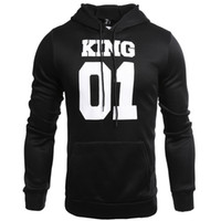 Discount men long coat dressing - Wholesale 2018 new style QUEEN KING printing and autumn hooded long sleeved Sweater Hoodie coat jacket couples dress