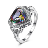 Wholesale platinum rings sale - 2018 Hot sale Jewelry Cut heart shaped Mystic Rainbow topaz & Cubic Zirconia Platinum Plated Rings Size #6 #7 #8 #9 R0175