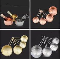 Wholesale Eco Gauge - Copper Stainless Steel Measuring Cups 4 Pieces Set Kitchen Tools Making Cakes and Baking Gauges Measuring Tools