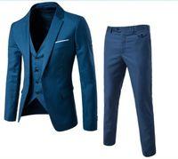 yeni kat erkekler tasarlar toptan satış-Yeni Tasarımlar Ceket ve Pantolon Takım Erkekler Için Katı Renk Düğün Smokin Erkekler Slim Fit Mens Suits Kore Moda (Ceketler + Pantolon + Yelek)