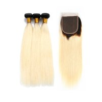 Wholesale dark honey blonde hair - Dream Remy Queen Ombre Color 1B 613 Straight 3 Bundles With 4x4 Lace Closure Dark Roots Honey Blonde Human Hair For Beautiful Women
