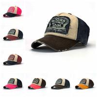 Wholesale washed denim caps - Unisex Letter Denim Snapback Adjustable Print Washed Embroidered Hat Hip Hop Baseball Hat 8 Colors Outdoor Peaked Cap AAA92