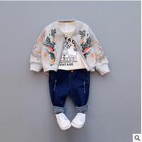 Wholesale Newborn Cardigans - Newborn jackets 2018 new Spring Toddler kids embroidery flowers outwears Baby girls zipper irregular hem cardigan Infants clothes C2508