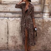 beige maxi kleider ärmel großhandel-Herbst Winter Kleid Womens Leopardenmuster Maxi Kleid Damen Urlaub Langarm Mode Vestidos Verano 2018 Winter