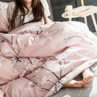 Wholesale king size bedding coverlet for sale - Pink Plum blossom print duvet cover set Egyptian cotton bedding set queen king size girls bed linens coverlet bed sheets