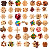 iq oyuncakları toptan satış-Ahşap IQ Zeka Kong Ming luban Kilit 3D Kilitli Bulmaca Jigsaw Küp Çocuk Childs Oyuncak Hediye Zeka oyuncakları GGA1277