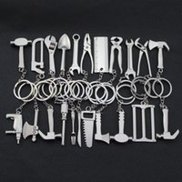Wholesale Tools Keychains Spanner Hammer Saw Axe Wrench Electrodrill Scissors Alloy Key Chains Gifts