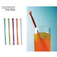 "Wholesale finger sticks - 5Pcs Set Five Finger ""HELP ME"" Coffee Stirring Rod Juices Spoon Bar Rabble Rods Drink Stir Stick Tools"