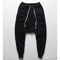 ingrosso mens nero dei pantaloni di goccia di goccia di goccia-All'ingrosso-Mens jogging Pantaloni casual harem pants Uomo nero Moda swag dance drop cavallo Hip Hop pantaloni della tuta sportivi da uomo