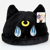 anime de la luna del marinero al por mayor-Dibujos animados anime felpa sombrero belleza niña guerrero luna gato gato púrpura felpa sombrero marinero luna gruesa gruesa caliente gato sombrero cosplay