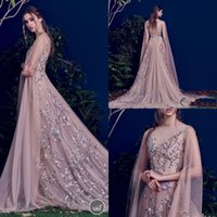 Wholesale paolo sebastian prom dresses online - 2018 Boat Neck Embroidery Appliques Evening Dresses Long Sleeves Sweep Train Spring Vestidos De Festa Sheer Back Paolo Sebastian Prom Gowns