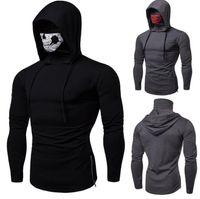 maskierter hoodie großhandel-Maske Skull Design Mens Hoodies Dünne Kapuzenpullis Einfarbig Bluse Sudaderas Para Jogger GYM Hoodies Hommes Tops