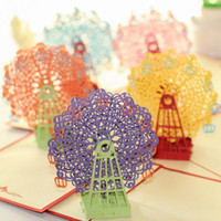 Wholesale origami 3d pop up gift for sale - Group buy Kawaii Handmade D Ferris Wheel Origami D Pop Up Paper Laser Cut Vintage Post Cards Greeting Cards Happy Birthday Gifts Kraft