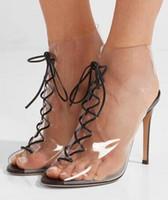 chaussure de cheville peep toe noir achat en gros de-2018 Été Marque Femmes Nouveau PVC Transparent Peep Toe Noir En Cuir Cravates À Lacets Avant Talon Talon Court Bottines Bottes Grande Taille 42