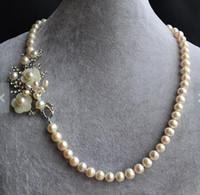 ingrosso perle originali per il matrimonio-Collana di perle autentiche, spilla fiore con collana di perle d'acqua dolce naturale bianca da 8-9 mm, gioielli di perle da sposa donna moda