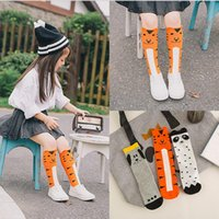 Wholesale Dog Leg Warmer - Wholesale- Hot New Fashion leg warmer Girls Soft Cotton Socks cute 3D Tiger Dog Panda print kids children Knee High bady Socks