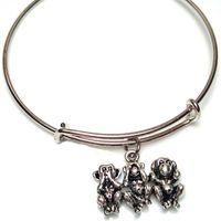 Wholesale monkey jewelry charms resale online - 12pcs Three wise monkeys bracelet Charm bangles adjustable See no evil Three Monkeys Jewelry