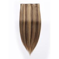 vende extensiones de cabello clip al por mayor-Clip de Remy en la extensión del pelo Color del piano Venta caliente Venta directa de fábrica al por mayor 220G Personalizado Doble Dibujado Extremos gruesos Remy Clip en el pelo