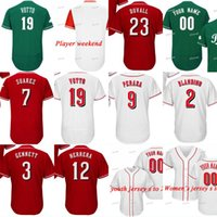 Wholesale red scooters - Cincinnati Alex Blandino Scooter Gennett Rosell Herrera Jose Peraza Eugenio Suarez Joey Votto Adam Duvall Billy Hamilton Baseball Jerseys