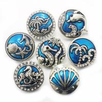 pulsera de una dirección diy al por mayor-Boom Life crystal dolphin sea 18mm botón a presión de metal Relojes de pulsera para mujer encanto de la pulsera DIY una dirección 010617