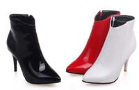 Wholesale flash trades - High Heels Boots Foreign Trade New Pattern PU 34-43 Code Stiletto-heel Women Red Black White Short-boot 9cm-heel Flash Sale