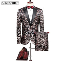 terno de impressão leopardo para homens venda por atacado-Elegante Homens Terno Moda Nova Estampa de Leopardo Noivo Smoking Terno Inglaterra Estilo Único Breasted Slim Fit Ternos Dos Homens Para O Casamento