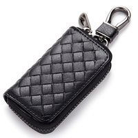 Wholesale bag for braids resale online - Hot sale promotional gift small bags for key multi colors Multifunctional braided genuine leather zipper car key wallet