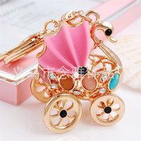 Wholesale swan diamond pendant for sale - Car Pendant Swan Diamond Insert Package Lovely Key Buckle Chain Resin Baby Charm Wedding Decoration Happy Birthday Party Favors ny bb