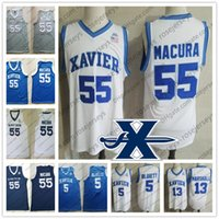 Wholesale gray basketball jersey - NCAA Xavier Musketeers #13 Naji Marshall 55 JP Macura 0 Tyrique Jones 5 Trevon Bluiett College Basketball white gray blue black Jersey S-4XL