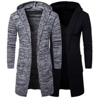 мужская мода черный кардиган оптовых-New  Top Fashion Mens Gray Black Hooded Cardigan Long Coats Male Punk Gothic style Loose coat winter white trench