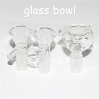 ingrosso vetro assortito-Ciotola di vetro assortito da 14 mm con manico Tubo da fumo per acqua Accessorio di fornitura per vaschette di vetro mini bong in vetro