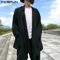 чёрный плащ с капюшоном оптовых-Cloak Autumn Hoody Trench Men's Jacket Casual Long Sleeve Regular Fit Black Coat Hiphop Cardigan Hoodie Cape Coat Men Clothes