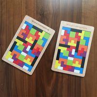 Wholesale tetris block resale online - Wooden Russia Tetris Multicolor Fun Intellectual Building Blocks Children Brain Training Toy For Early Education Puzzle Games Hot Sale xq