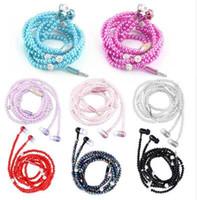 perlenkette kopfhörer großhandel-Heiße Universalmode-Perlen-Halsketten-Kopfhörerrhinestone-Schmucksachen im Ohr-Kopfhörer mit Mikrofon-Ohrhörer-Kopfhörer für Iphone HuaWei