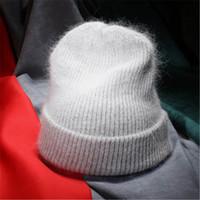 invierno piel de conejo sombreros lana mujer al por mayor-Mujeres otoño invierno cálido piel de conejo gorros de punto grueso doble capa de lana Skullies sombrero femenino D18103006