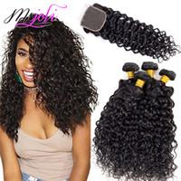 Wholesale hair bundles closures 5pcs for sale - Group buy Brazilian Virgin Hair Water Wave Lace Closure with Bundles A Human Hair Weave Bundles Wet and Wavy Bundles with Closure