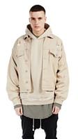 Wholesale black high waisted denim - fashion Men jacket solid khaki long sleeve casual outerwear hiphop jacket high street men denim coat jackets