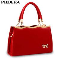 blue lady dress bowknot 2018 - leather handbags Summer Fashion Bowknot Women PU Leather Handbag Totes Korean Style Hand Bag Female Hand Bags Designer Red Ladies Purse