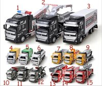 Wholesale Diecast Buses - 1:48 Scale Diecast Metal Alloy Car Model Pull Back Toys Car Model Alloy Car 1:48 Military Engineering Firefighting City 15 Styles