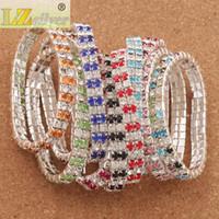 Wholesale tennis bracelets for sale - 20pcs Crystal Bracelet sizes Red Spring Silver Plated Rows Rhinestone Bracelets Tennis Fashion Jewelry stones stones stones