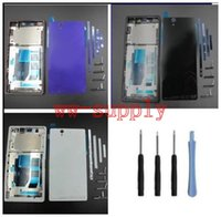 Wholesale xperia z back - wholesale For Sony Xperia Z L36h C6602 C6603 Full Housing Front Chassis Frame Side Stripe Port Cover Back Battery Cover Case Tool