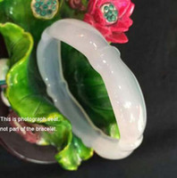 joyas de ágata blanca genuina al por mayor-Genuine Natural White Agate Woman Bangle Bamboo Shape Calcedony Bracelet Fine JewelryBangle