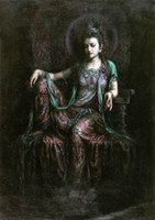 Wholesale painting kwan yin for sale - Group buy Dunhuang flying seated Guanyin Kwan yin Avalokitesvara High Quality Handpainted HD Print oil Painting Wall Art On Canvas Home Deco p123