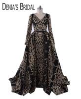 vestidos de fiesta de manga larga negro al por mayor-2018 Black Glitter Celebrity Dresses vestidos de Split con cuello en V de manga larga con vestido de bola abullonado desmontable Overkirt vestidos formales de noche