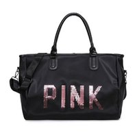 Wholesale Wholesale Tote Bag Luggage - Hot Fashion Pink Totes Pink Luggage Bags Unisex High-capacity Pink Sequins Single Shoulder Bags Bodybuilding Sports Duffel Bag CCA8515 10pcs