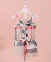 Wholesale england suspenders - New Hot kids summer clothes baby girls cotton jumpsuit kids fashion plaid ruffle suspender siamese shorts A6274