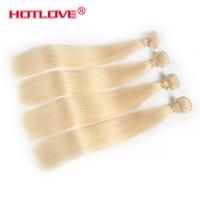 extensions de cheveux brésiliens mixtes remy achat en gros de-HOTLOVE Couleur 613 Blonde Brésilienne Vierge Remy Cheveux Raides Bundles 4 Pièces / Lot Mixte Longueur 12-24 pouce Miel Blond Extension de Cheveux Humains