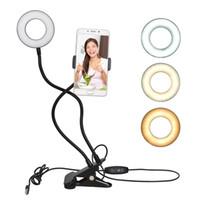 işıklı telefon çaldı toptan satış-Mobil telefon için Youtube Canlı yayın Makyaj Kamera Lambası için Cep Telefonu Mobil Tutucu Fotoğraf Stüdyosu Selfie'nin LED Halka Işık