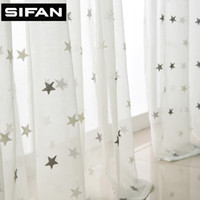Wholesale Gray Blue Stars Embroidered Voile Curtains for Living Room the Bedroom Sheer Curtains Tulle Window Fabric Drapes